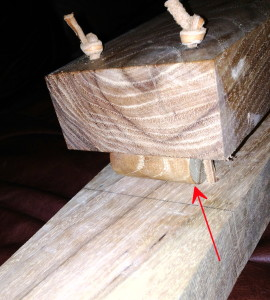 Closeup of pivot and leather strips, on final vise.