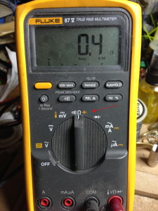 With the multimeter set to Ohms (resistance), it reads .4 ohms, which is extremely low.