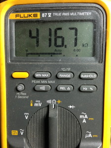 With the multimeter still set to Ohms (resistance), it reads 416.7K ohms, and this is a 500K ohm pot.