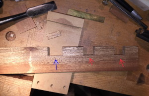 Notches cut for the #18 (blue), 60 1/2R (red), and 60 1/2 (red). Notch for #102 has yet to be cut.