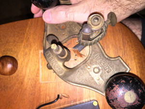 Stanley router plane, removing some of the waste inside the score lines.