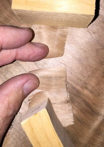 The same cross grain shaving, showing how they break, and it is with very little force.