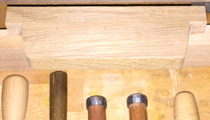 Rack for three longer chisels, before any drilling or cutting.