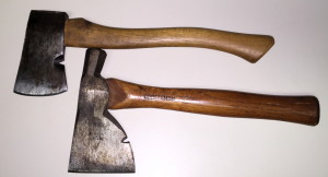 The Plumb hatchet above the Craftsman hatchet, to compare handle shapes and heads.