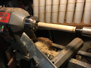Here is the maple burnisher installed on my wood lathe. The small darkened section at the far right end of the wood, is the portion I use for this burnishing.