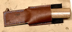 The Japanese skiving knife in it's leather sheath I made especially for it.